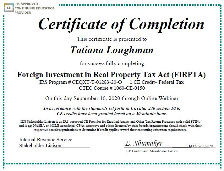 Bought US real estate from a foreigner